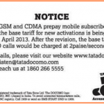 Tata Docomo Public notice for new base tariff 150x150 Tata Docomo Launches new 2G Promo offer of 2013 MB @ Rs.46