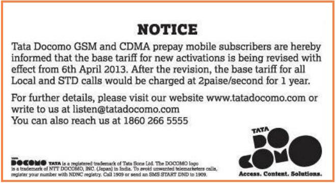 Tata Docomo Hikes Prepaid Base Tariffs to 2paisa/Sec for GSM and CDMA Customers