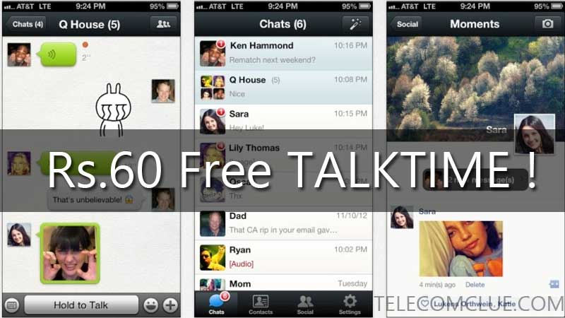 FREE TALKTIME of Rs.60 on WeChat. Hurry Limited Period Offer