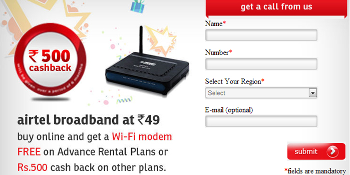 AirTel Broadband for Rs 49. Limited Offer!