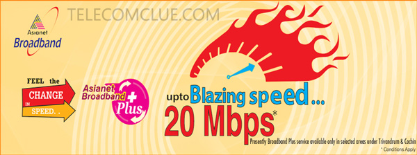 Asianet launches 20Mbps Broadband Plans